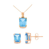 6.27ctw 6 x 8 mm. Emerald Cut Genuine Natural Blue Topaz Set 14kt Rose Gold