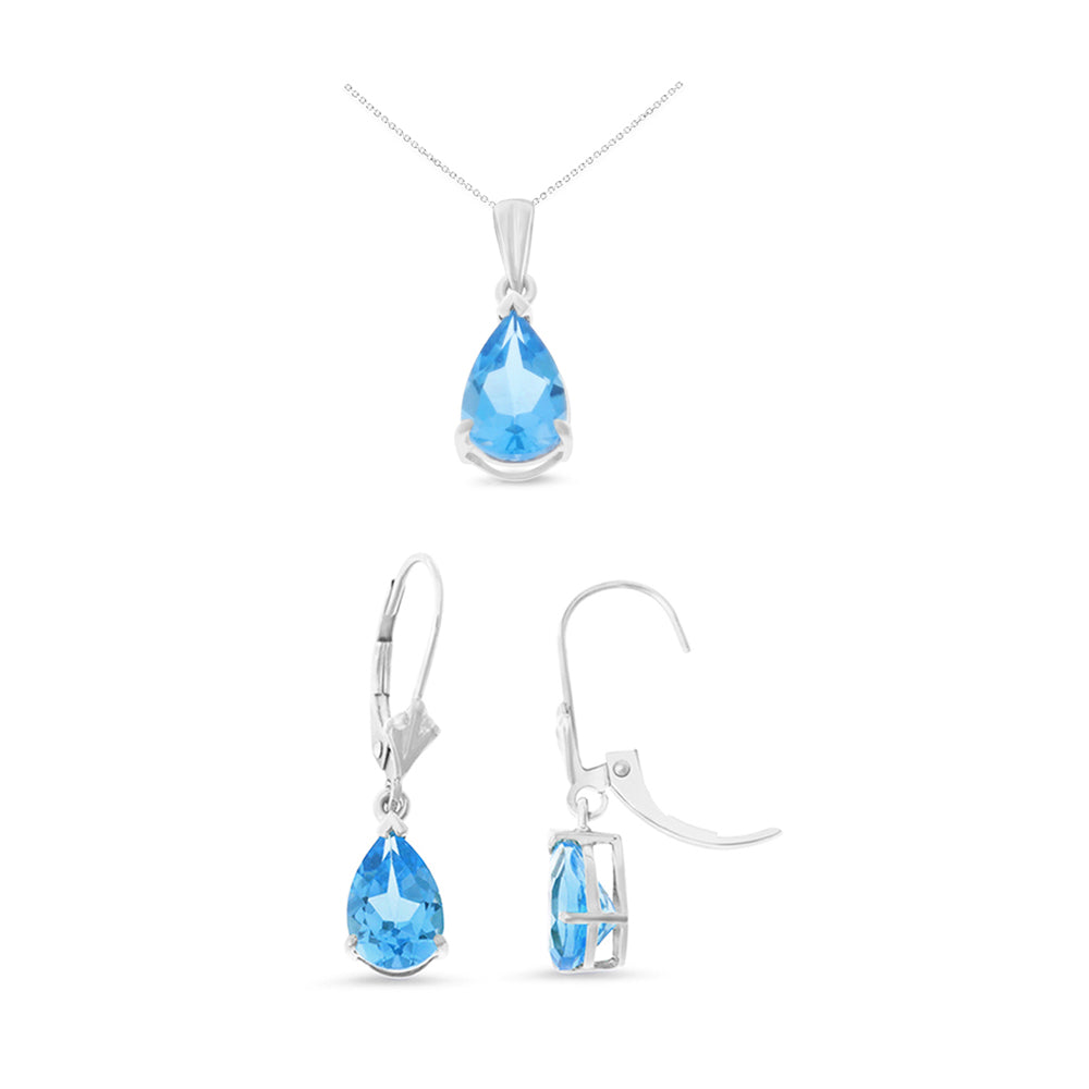 4.60ctw 6 x 8 mm. Pear Shaped Genuine Natural Blue Topaz Leverback Set 14kt White Gold