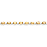"7"" 13.12ctw 5 x 7 mm. Oval Genuine Natural Citrine Bracelet .925 Sterling Silver"
