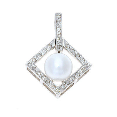 0.19ctw Genuine Natural White Pearl and Diamond Pendant 14kt White Gold