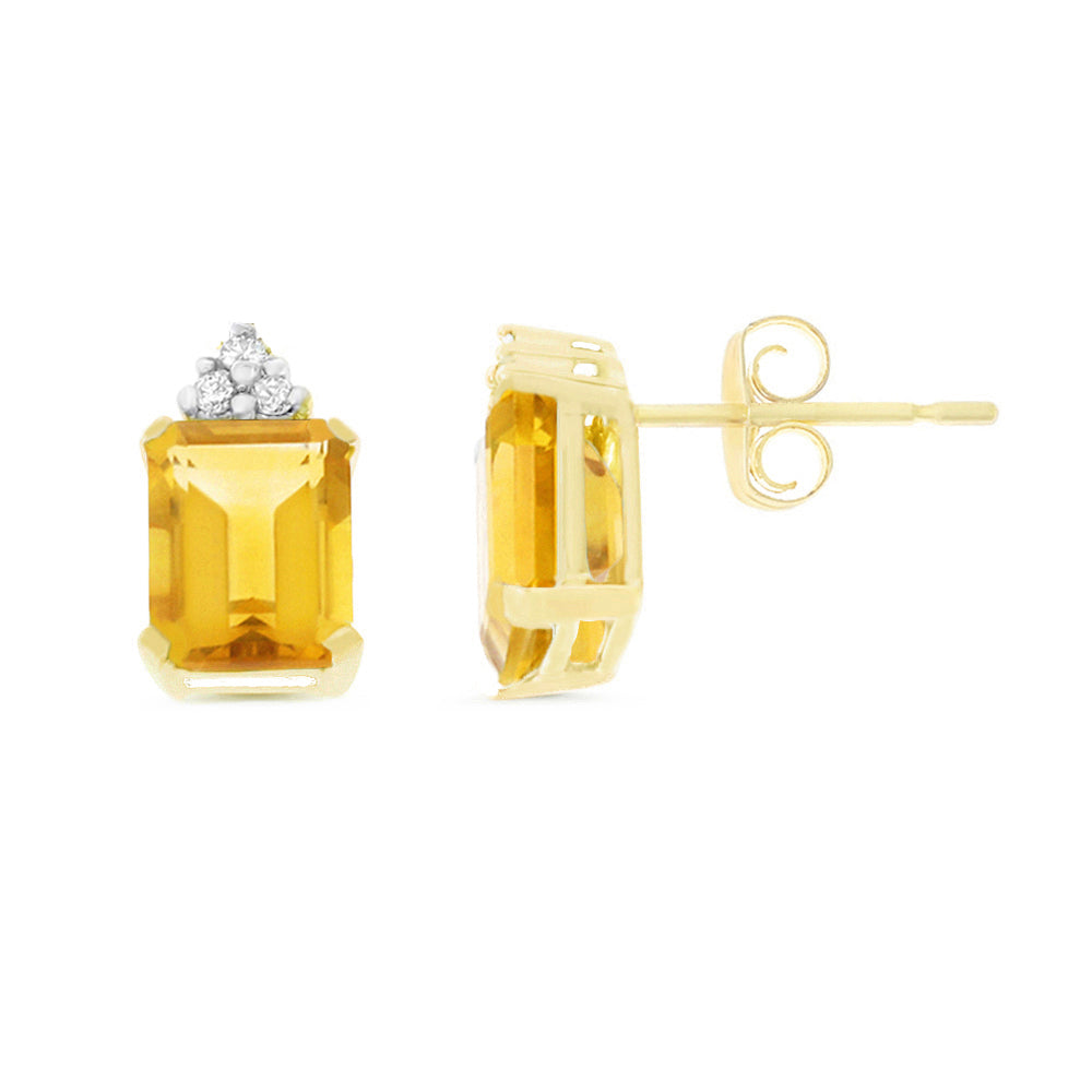 2.80ctw 6 x 8 mm. Emerald Cut Genuine Natural Citrine and Diamond Earrings 14kt Yellow Gold