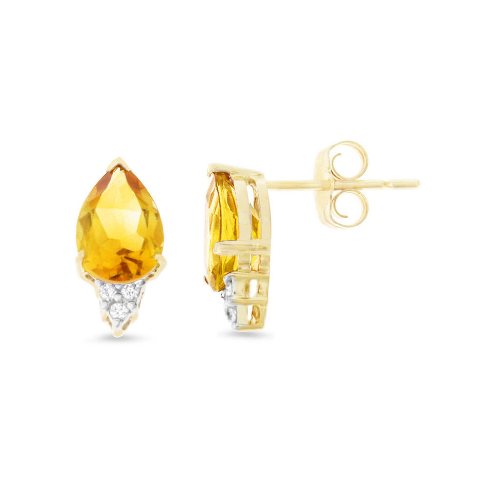 2.89ctw 6 x 8 mm. Pear Genuine Natural Citrine and Diamond Earrings 14kt Yellow Gold