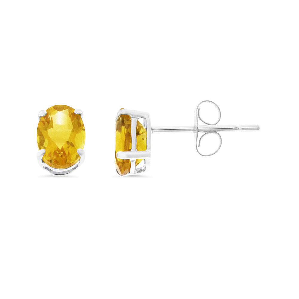 1.45ctw 5 x 7 mm. Oval Shaped Genuine Natural Citrine Earrings 14kt White Gold