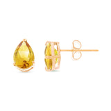 2.85ctw 6 x 8 mm. Pear Shaped Genuine Natural Citrine Earrings 14kt Rose Gold