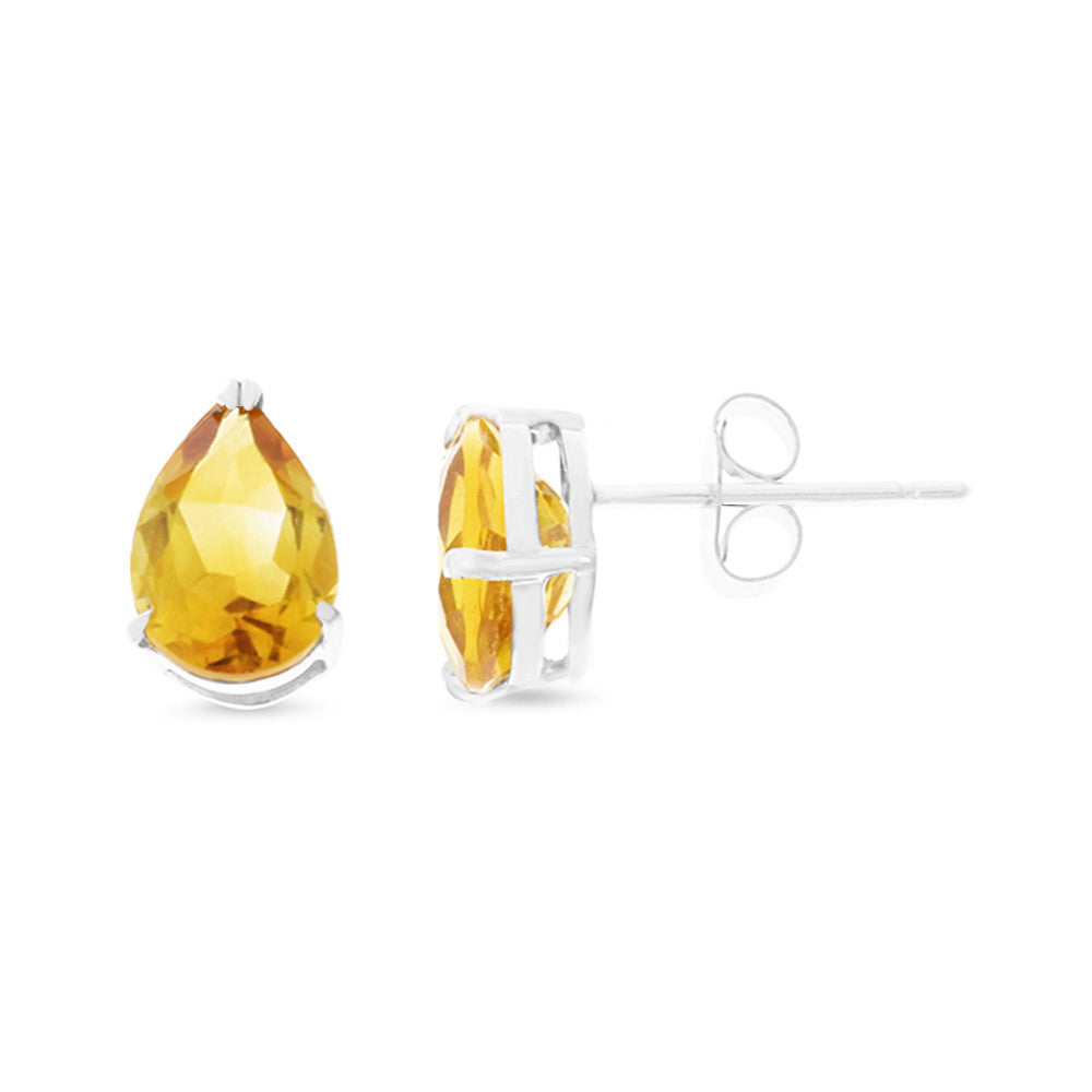 2.85ctw 6 x 8 mm. Pear Shaped Genuine Natural Citrine Earrings 14kt White Gold
