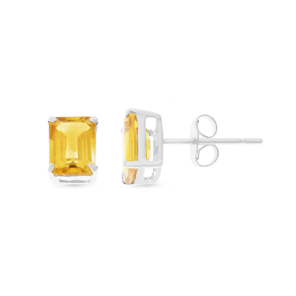 1.85ctw 5 x 7 mm. Emerald Cut Genuine Natural Citrine Earrings 14kt White Gold