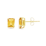 1.85ctw 5 x 7 mm. Emerald Cut Genuine Natural Citrine Earrings 14kt Yellow Gold