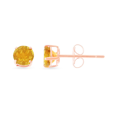 0.87ctw 5 mm. Round Shaped Genuine Natural Citrine Earrings 14kt Rose Gold