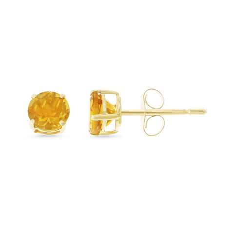 0.87ctw 5 mm. Round Shaped Genuine Natural Citrine Earrings 14kt Yellow Gold