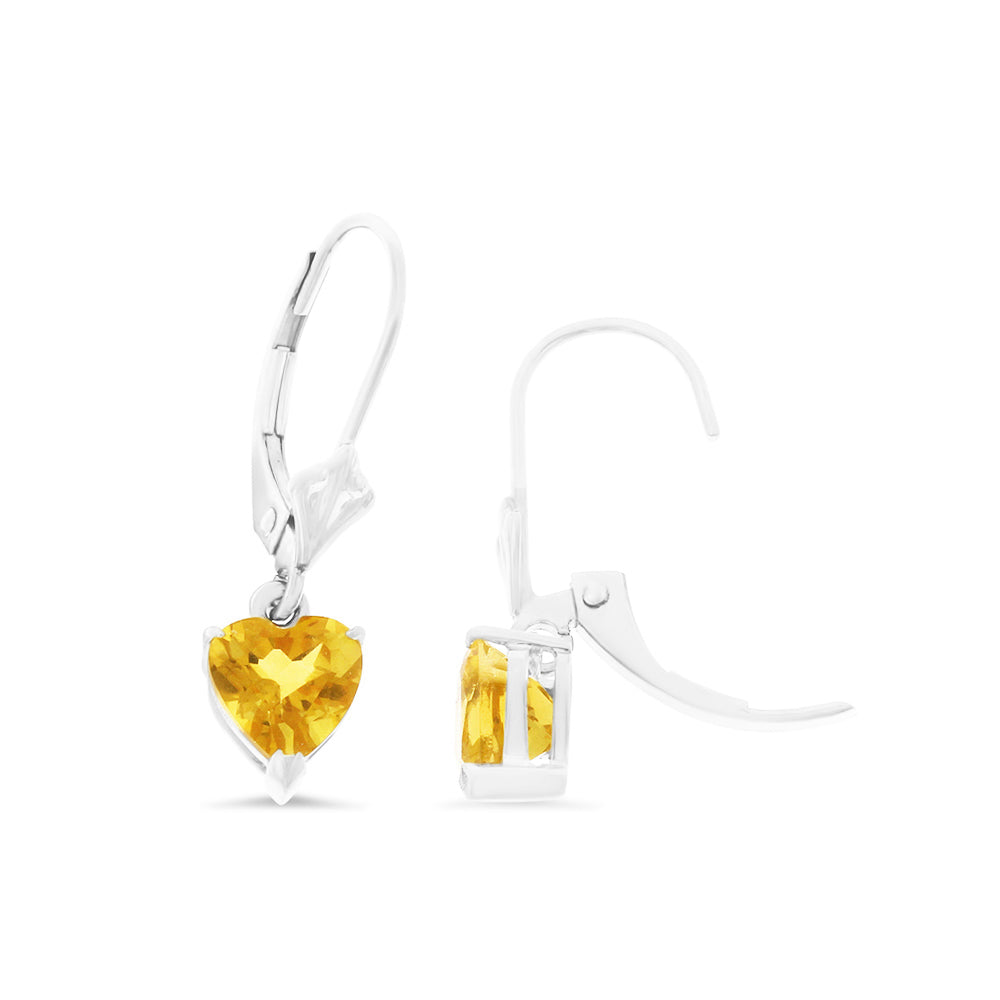 1.40ctw 6 mm. Heart Shaped Genuine Natural Citrine Leverback Earrings 14kt White Gold