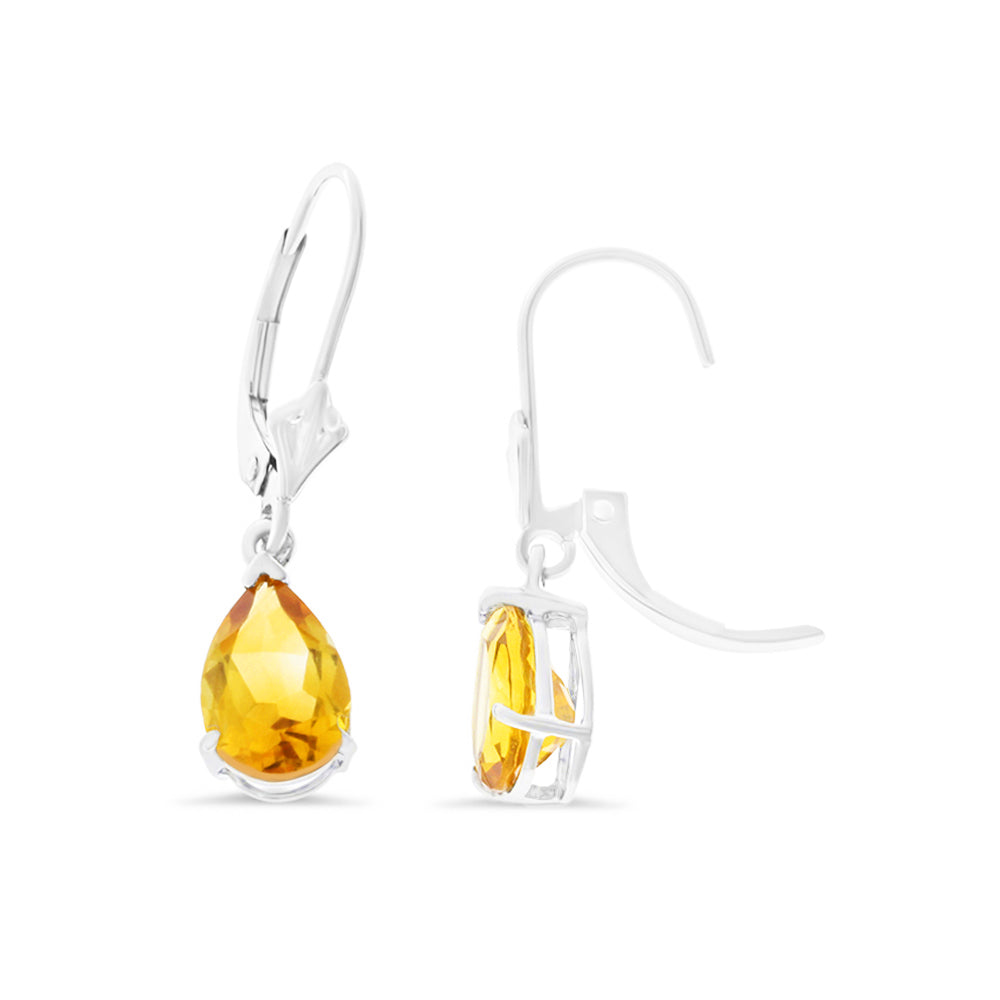 2.12ctw 6 x 8 mm. Pear Shaped Genuine Natural Citrine Leverback Earrings 14kt White Gold