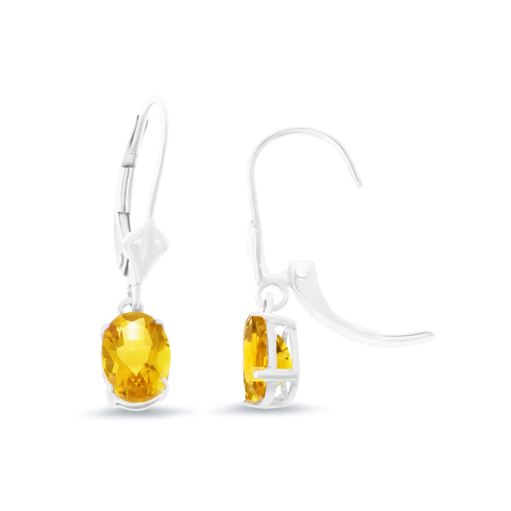 1.43ctw 5 x 7 mm. Oval Shaped Genuine Natural Citrine Leverback Earrings 14kt White Gold