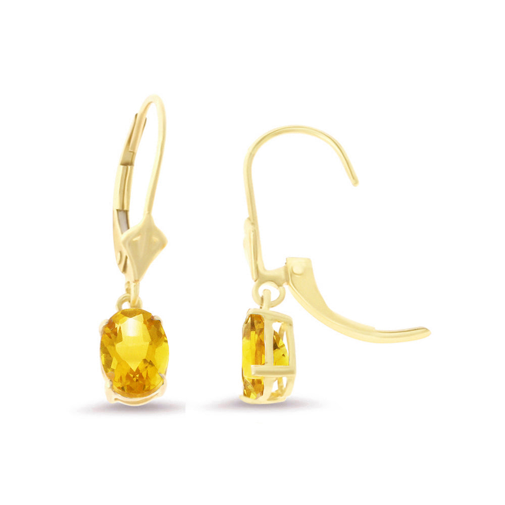 1.43ctw 5 x 7 mm. Oval Shaped Genuine Natural Citrine Leverback Earrings 14kt Yellow Gold