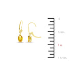 2.60ctw Oval Shaped Genuine Natural Citrine Leverback Set 14kt Yellow Gold