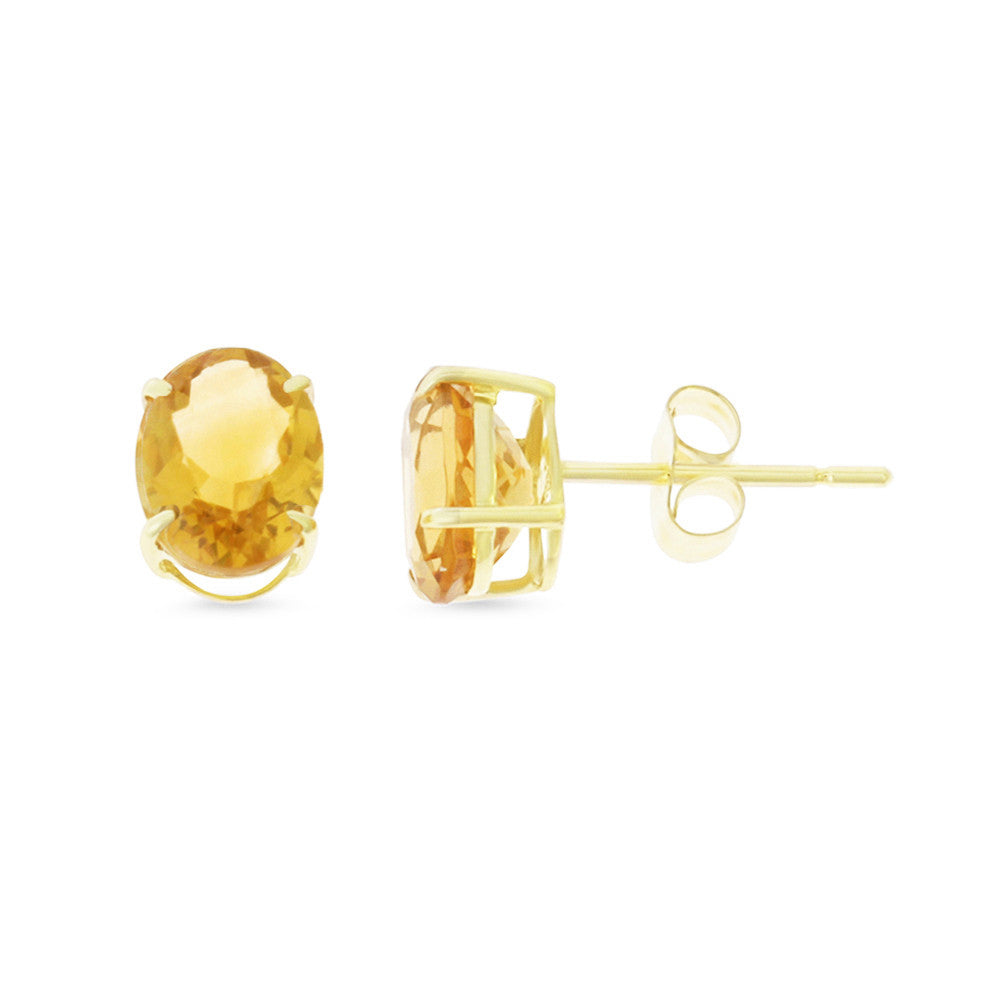 2.10ctw 6 x 8 mm. Oval Shaped Genuine Natural Citrine Earrings 14kt Yellow Gold