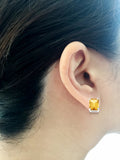 3.13ctw 6 x 8 mm. Emerald Cut Genuine Natural Citrine Earrings 14kt White Gold