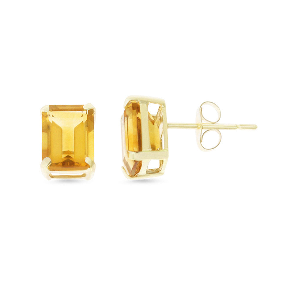 3.13ctw 6 x 8 mm. Emerald Cut Genuine Natural Citrine Earrings 14kt Yellow Gold