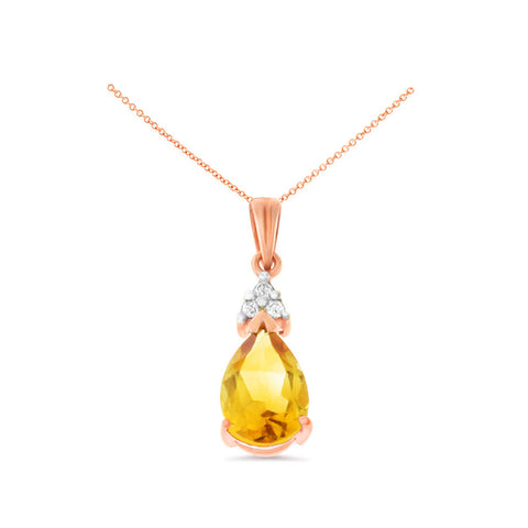 1.24ctw 6 x 8 mm. Pear Shaped Genuine Natural Citrine and Diamond Pendant 14kt Rose Gold