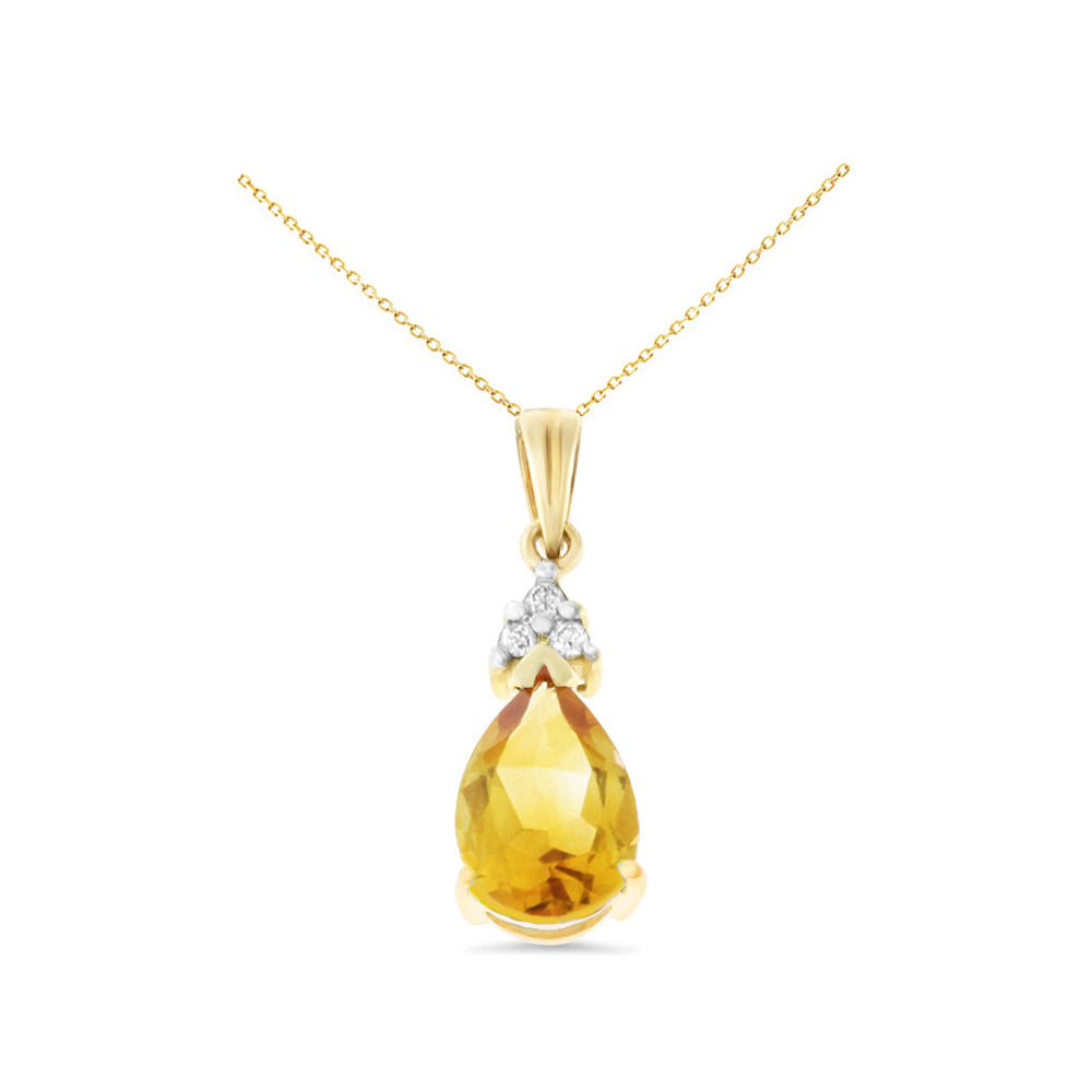1.24ctw 6 x 8 mm. Pear Shaped Genuine Natural Citrine and Diamond Pendant 14kt Yellow Gold