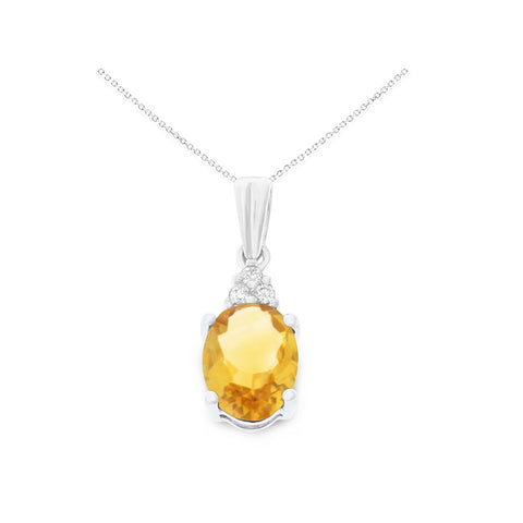 1.05ctw 6 x 8 mm. Oval Shaped  Genuine Natural Citrine and Diamond Pendant 14kt White Gold