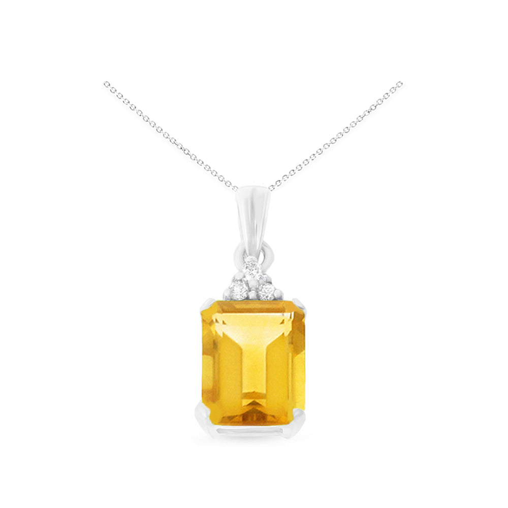 1.37ctw 6 x 8 mm. Emerald Cut Genuine Natural Citrine and Diamond Pendant 14kt White Gold