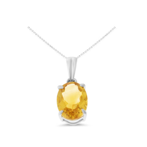 1.17ctw 6 x 8 mm. Oval Shaped Genuine Natural Citrine Pendant 14kt White Gold