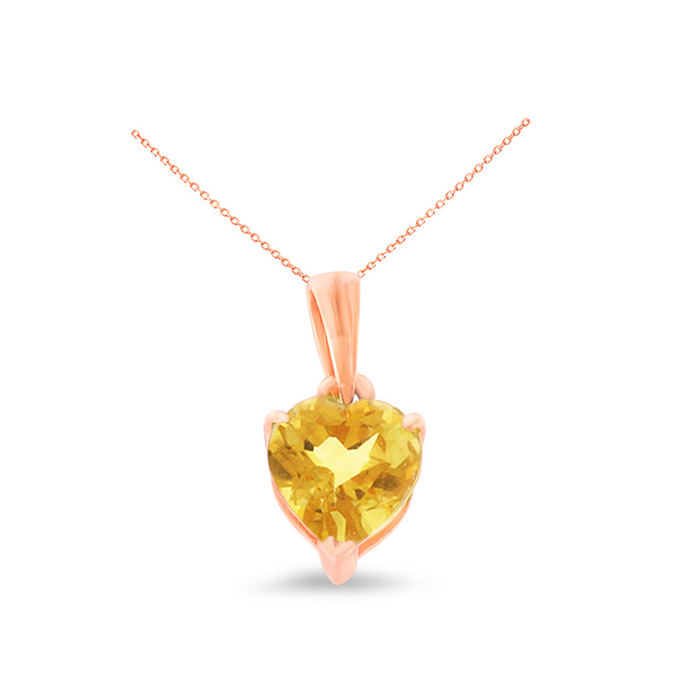0.60ctw 6 mm. Heart Shaped Genuine Natural Citrine Pendant 14kt Rose Gold