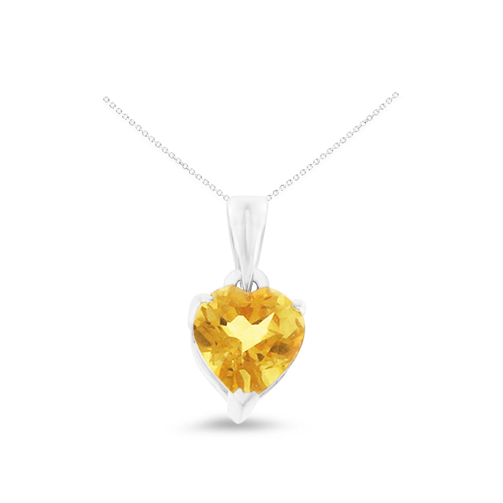0.60ctw 6 mm. Heart Shaped Genuine Natural Citrine Pendant 14kt White Gold