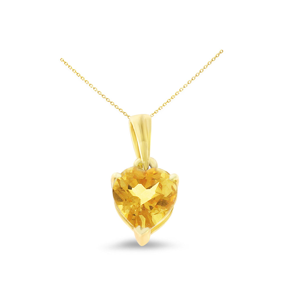 0.60ctw 6 mm. Heart Shaped Genuine Natural Citrine Pendant 14kt Yellow Gold