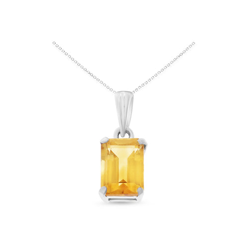 1.08ctw 5 x 7 mm. Emerald Cut Genuine Natural Citrine Pendant 14kt White Gold