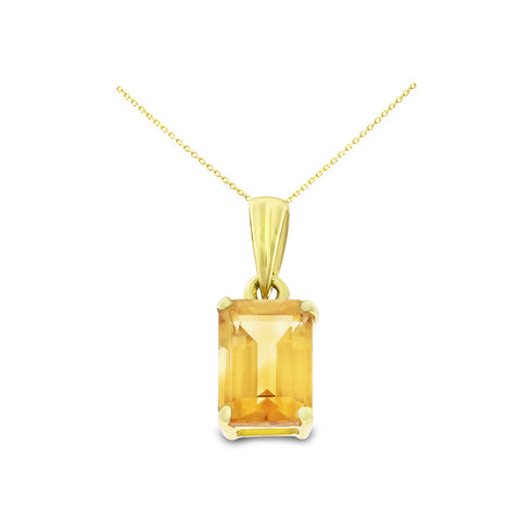 1.08ctw 5 x 7 mm. Emerald Cut Genuine Natural Citrine Pendant 14kt Yellow Gold