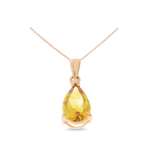 1.08ctw 6 x 8 mm. Pear Shaped Genuine Natural Citrine Pendant 14kt Rose Gold