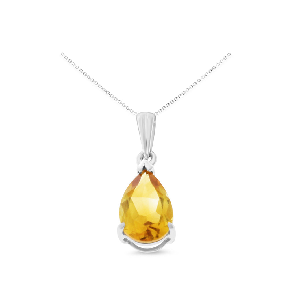 1.08ctw 6 x 8 mm. Pear Shaped Genuine Natural Citrine Pendant 14kt White Gold