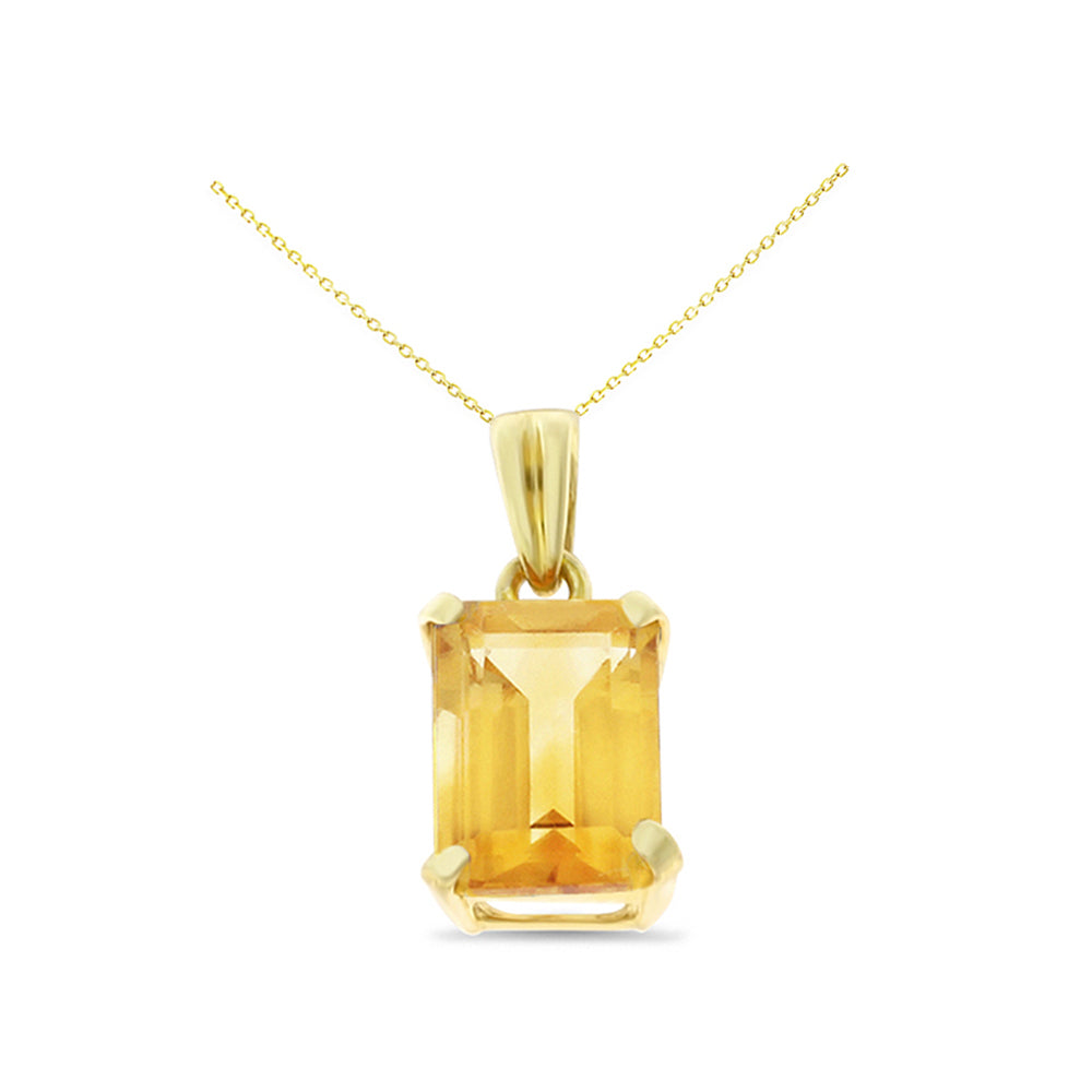 1.63ctw 6 x 8 mm. Emerald Cut Genuine Natural Citrine Pendant 14kt Yellow Gold