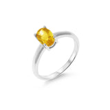 0.82ctw 5 x 7 mm. Oval Genuine Natural Citrine Ring Size 6.25 .925 Sterling Silver