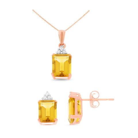 4.13ctw Pear Shaped Genuine Natural Citrine And Diamond Set Fine Jewelry 14kt Rose Gold