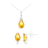4.13ctw 6 x 8 mm. Pear Shaped Genuine Natural Citrine and Diamond Set 14kt White Gold