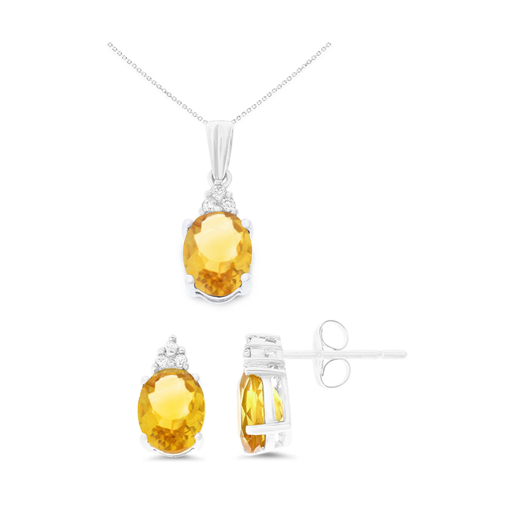 3.22ctw 6 x 8 mm. Oval Shaped Genuine Natural Citrine and Diamond Set 14kt White Gold