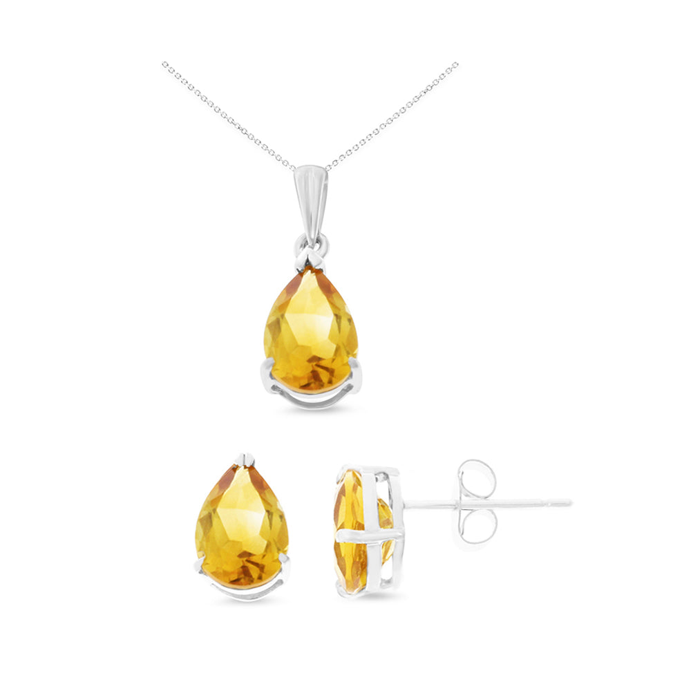 2.93ctw 6 x 8 mm. Pear Shaped Genuine Natural Citrine Set 14kt White Gold