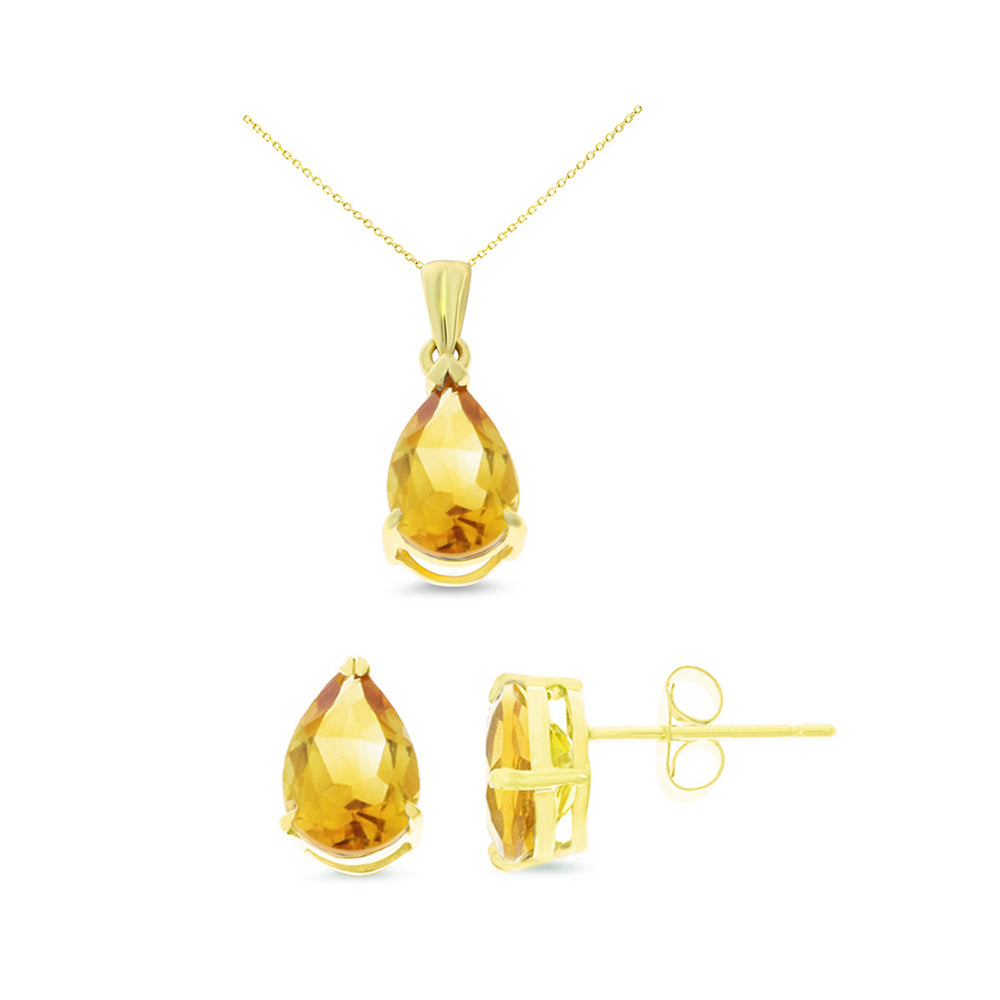 2.93ctw 6 x 8 mm. Pear Shaped Genuine Natural Citrine Set 14kt Yellow Gold