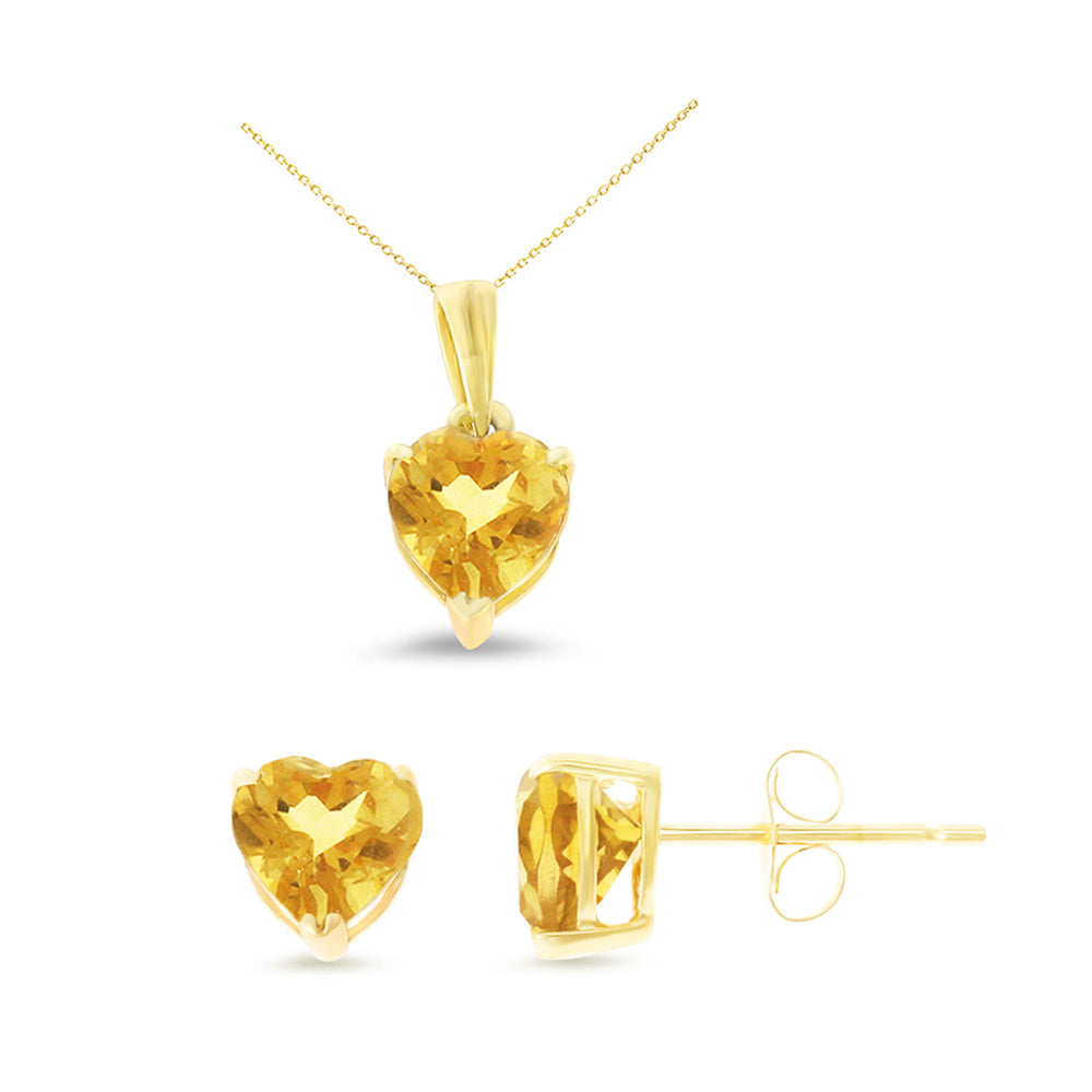 2.03ctw 6 mm. Heart Shaped Genuine Natural Citrine Set 14kt Yellow Gold