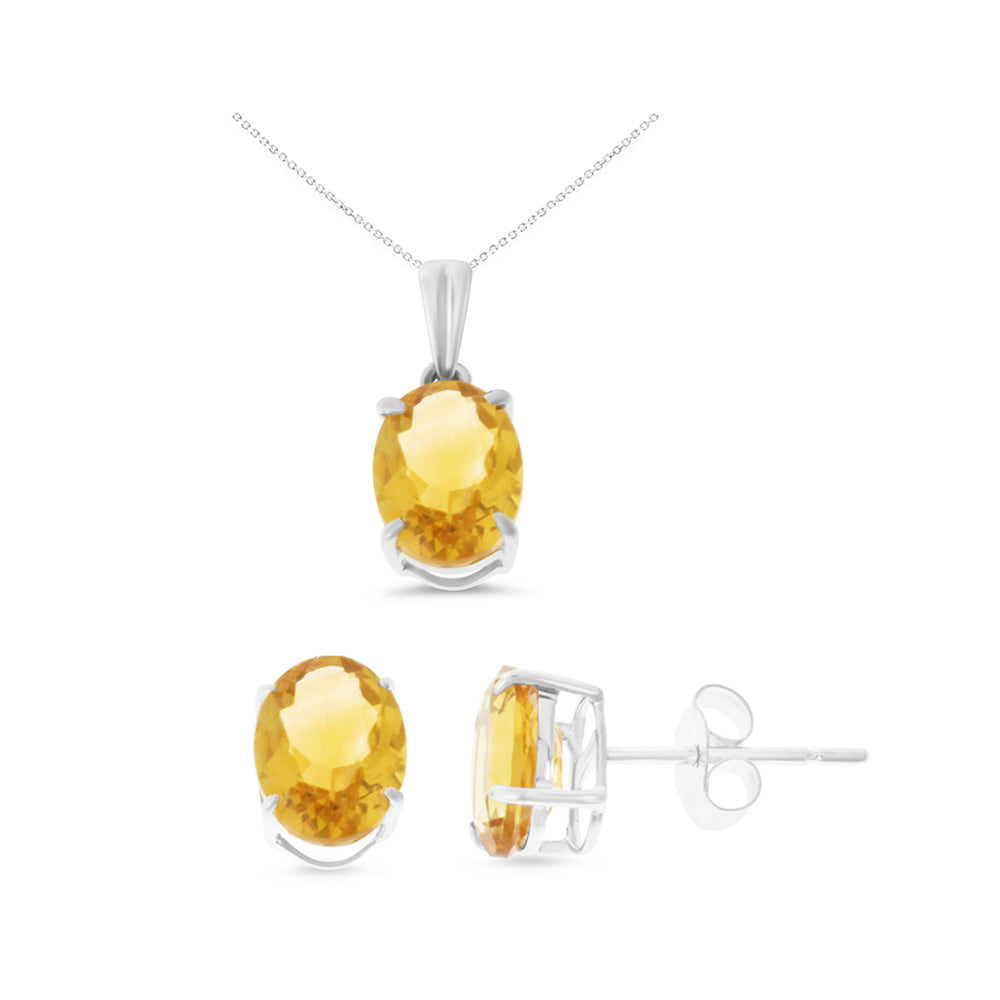3.27ctw 6 x 8 mm. Oval Shaped Genuine Natural Citrine Set 14kt White Gold