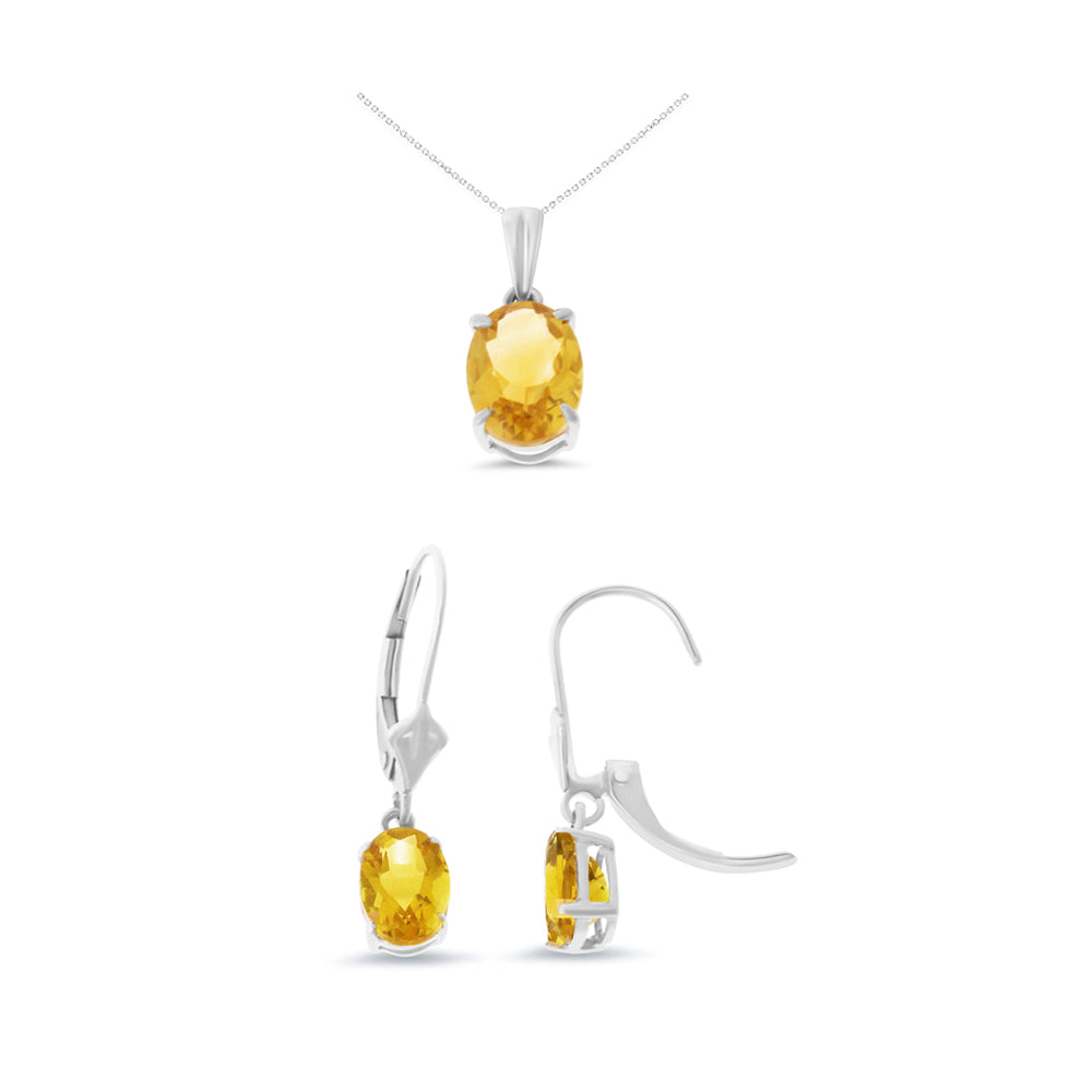2.60ctw Oval Shaped Genuine Natural Citrine Leveback Set 14kt White Gold