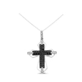 0.63ctw Genuine Natural Black + White Diamond Cross Pendant 14kt White Gold