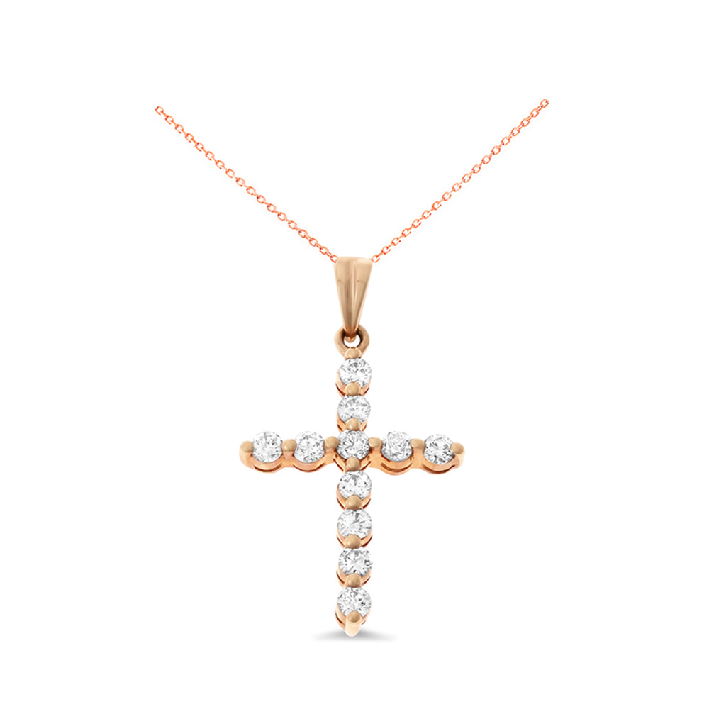 050ctw genuine natural diamond cross pendant 18kt rose gold 050ctw genuine natural diamond cross pendant 18kt rose gold aloadofball Image collections