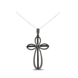 0.12ctw Genuine Natural Black + White Diamond Cross Pendant Black Rhodium 14kt White Gold