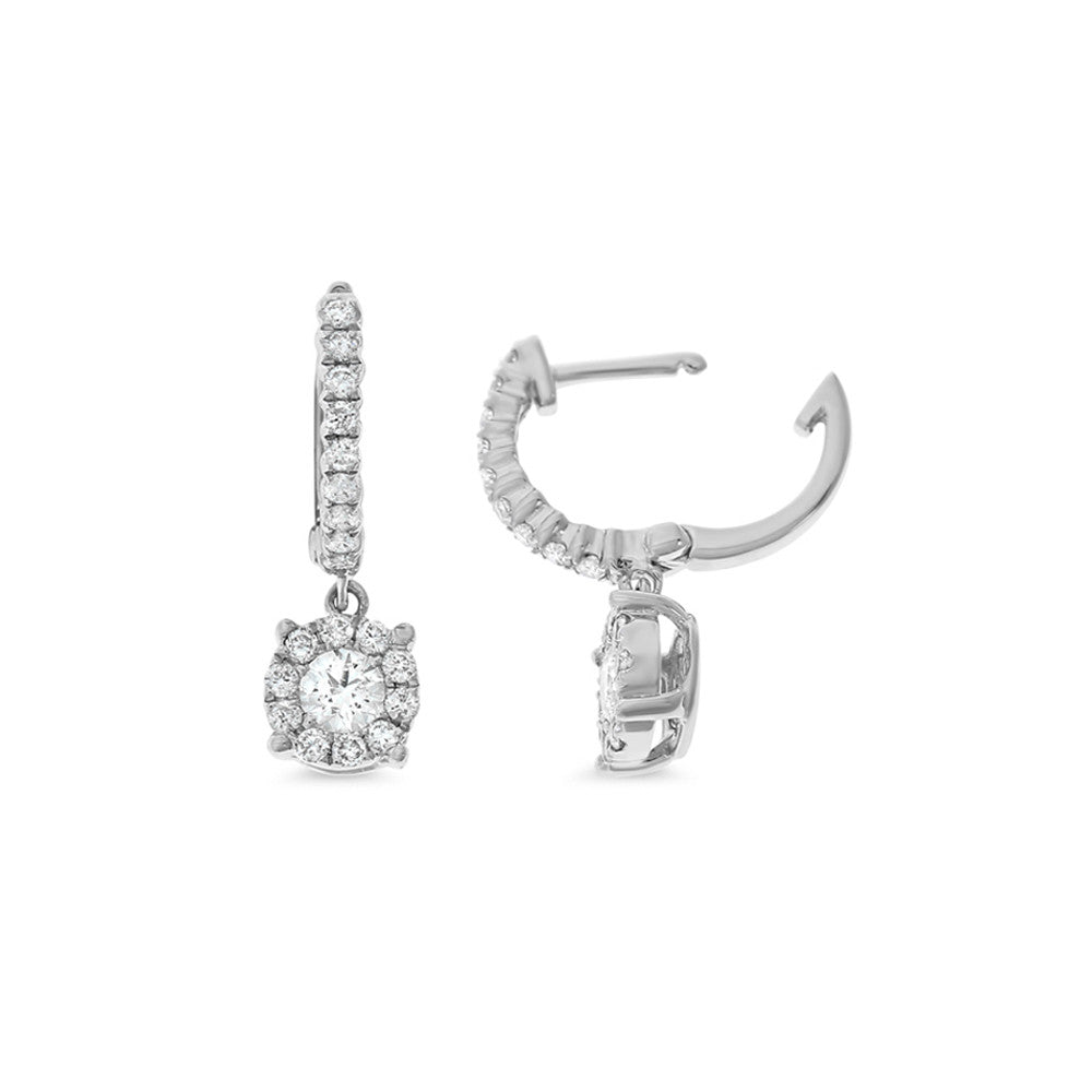 0.51ctw Genuine Natural Diamond Hoop Dangling Earrings 18kt White Gold