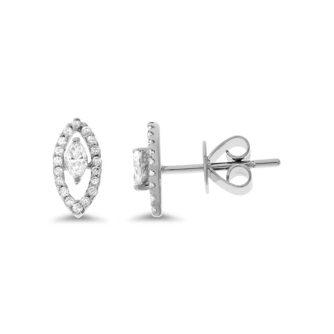 0.25ctw Genuine Natural Diamond Stud Earrings 18kt White Gold