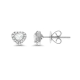 0.45ctw Genuine Natural Diamond Heart Shaped Stud Earrings 18kt White Gold