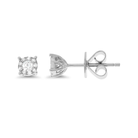 0.20ctw Genuine Natural Diamond Stud Earrings 18kt White Gold